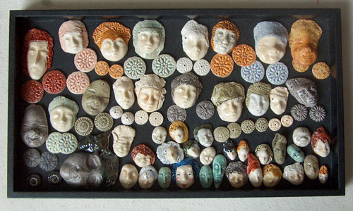 ceramic faces and buttons