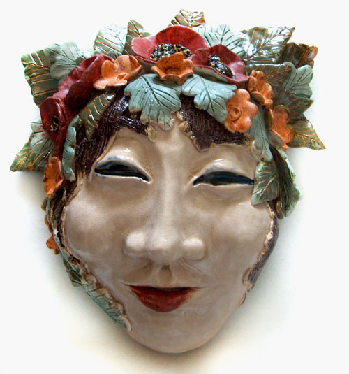 ceramic flower girl mask