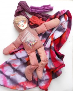 ceramic face and buttons, dyed doll, fabric and trims